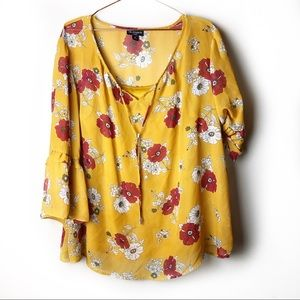 I.N Studio Plus Size Floral Yellow Top